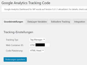 Tracking-Typ im GADWP-Plugin einstellen